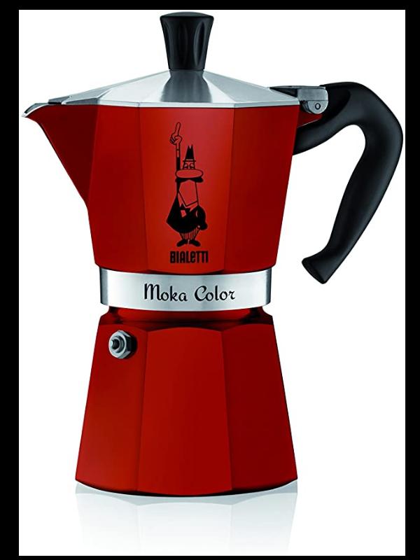 cafetera italiana moka color rojo 6 tazas